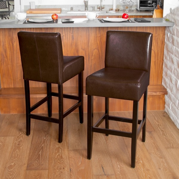 Christopher Knight Home Lopez Brown Leather Bar Stools