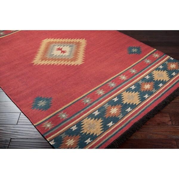 Hand Woven Red Southwestern Aztec Fernie Wool Rug 5 X 8