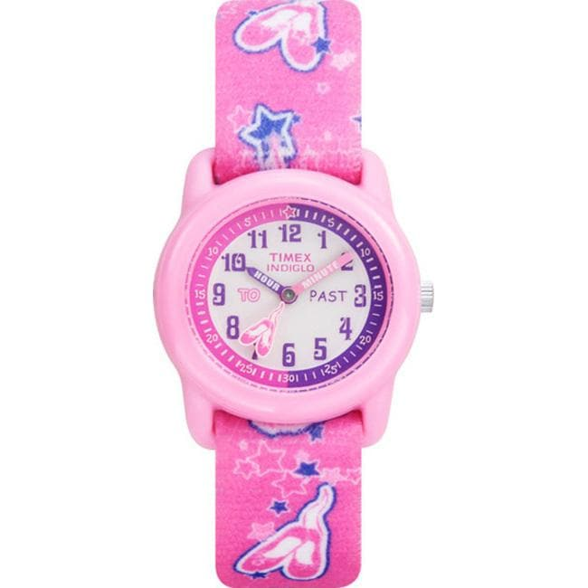 Timex kids t7b151 time teacher pink ballerina elastic fabric strap watch l13759599