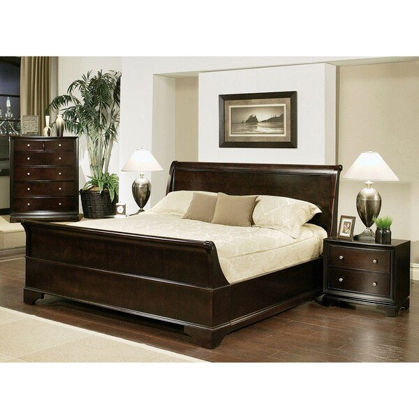 Bedroom Furniture King Size Bed: ABBYSON LIVING Kingston 4-piece Espresso Sleigh King-size