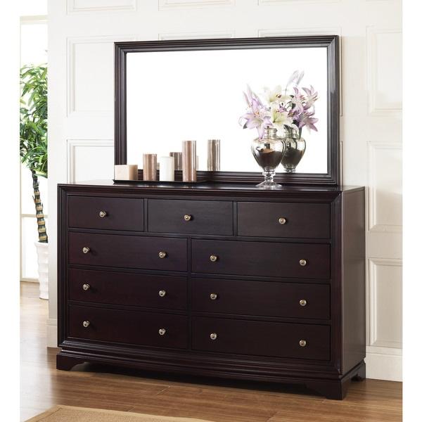 Abbyson Living Kingston Espresso 9 Drawer Dresser And Mirror Set 13761316 Overstock Com