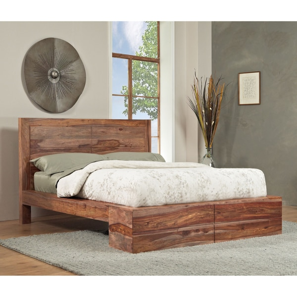 Sheesham Solid Wood Full Size Panel Bed 13767127