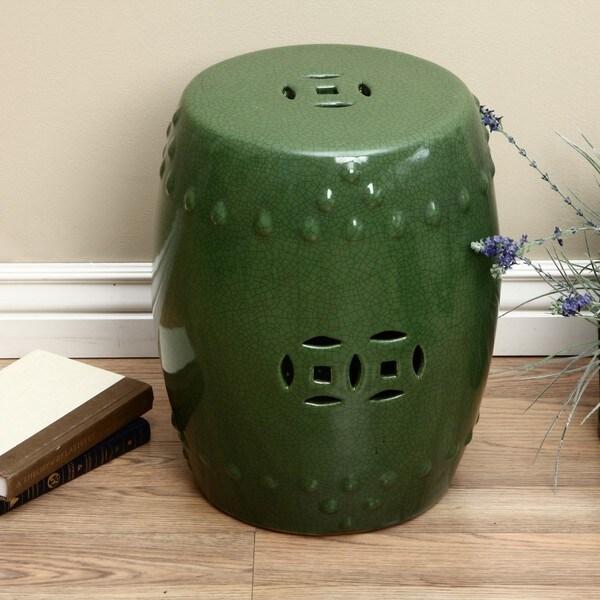 Handmade Porcelain Crackled Emerald Green Garden Stool
