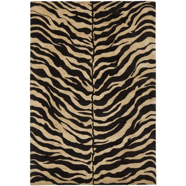 Safavieh Handmade Zebra Beige Hand-spun Wool Rug (6' X 9
