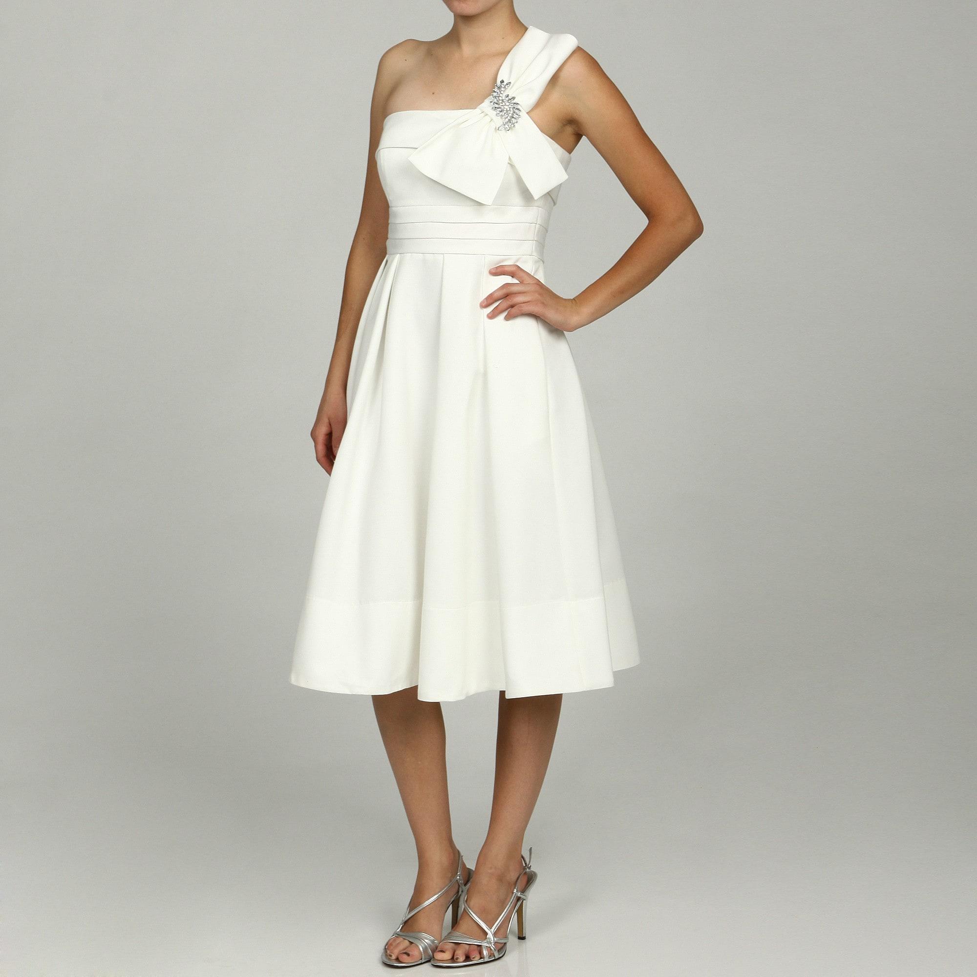 Eliza J Women's Ivory One-shoulder Short Bridal Dress