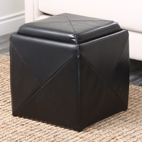 Abbyson Living Bentley Bonded Leather Cube Storage Tray