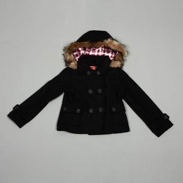 exceptional range of styles new style & luxury special promotion Dollhouse Big Girl's Charcoal Wool Faux fur Peacoat FINAL ...