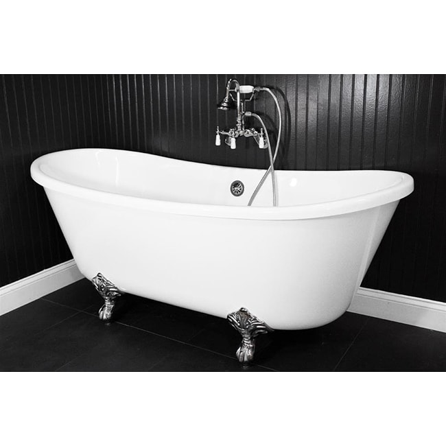 Spa Collection 59 Inch Bateau Clawfoot Tub And Shower Pack