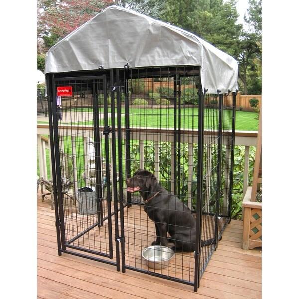 Lucky Dog Black Uptown Welded Wire Dog Kennel 4 X 4