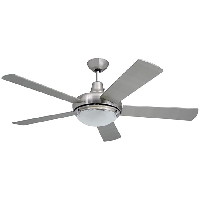 Modern Ceiling Fans With Lights: Contemporary 52-inch Nickel 2-light Ceiling Fan