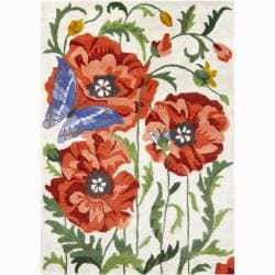 Artist's Loom Hand-tufted Transitional Floral Wool Rug (9'x13') - Thumbnail 0