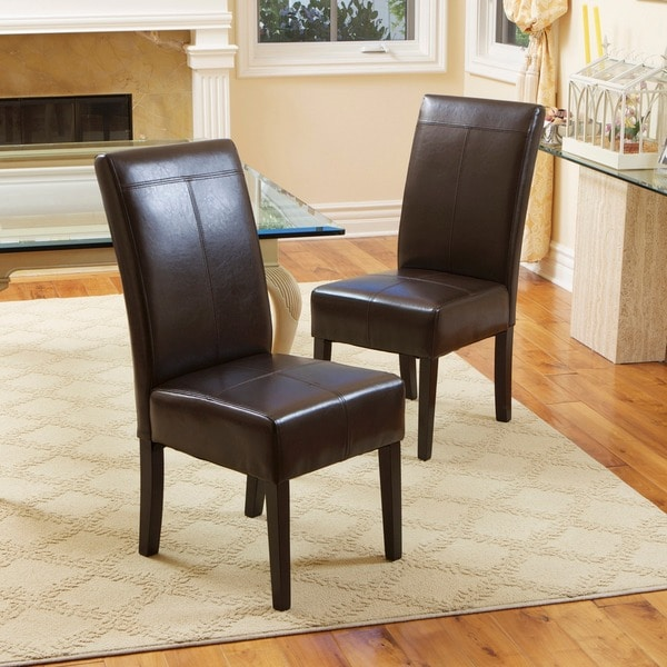 Set Of 2 Dining Room Furniture Brown Leather Dining: Christopher Knight Home T-stitch Chocolate Brown Leather