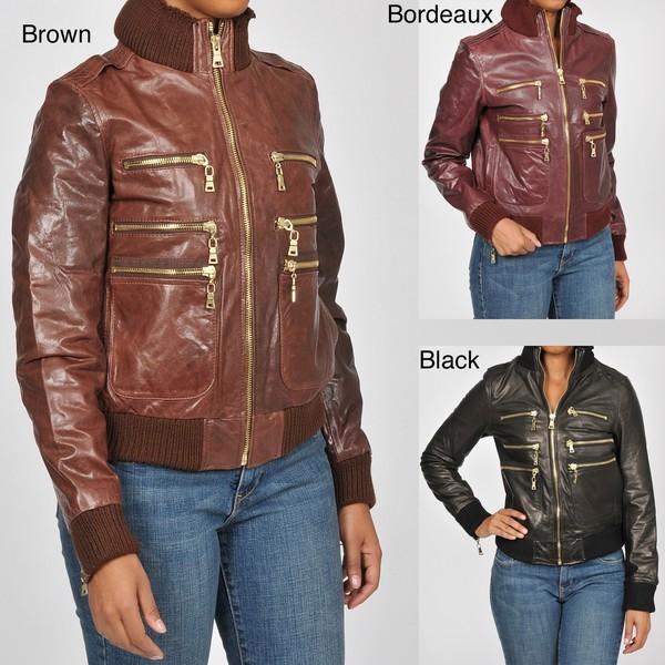 f882dfbc019ee Knoles   Carter Women s Zippered Leather Bomber Jacket