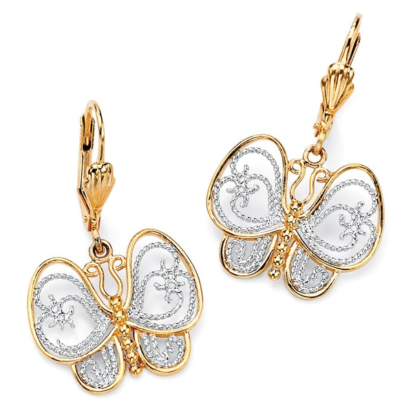 33461f827 ... Dangle Earring · Butterfly Drop Earrings: PalmBeach 18k Gold-Plated  Two-Tone Filigree Butterfly Drop