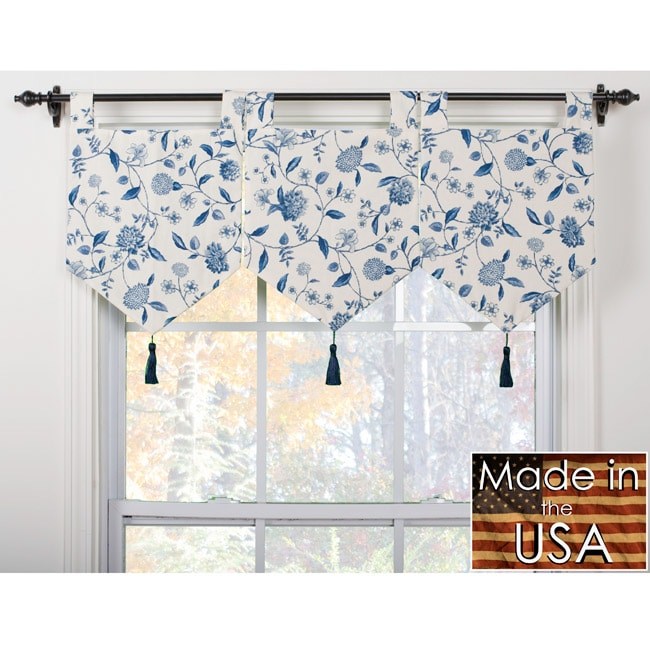 Calais Ivory Blue Banner Valances Set Of 3 13839146