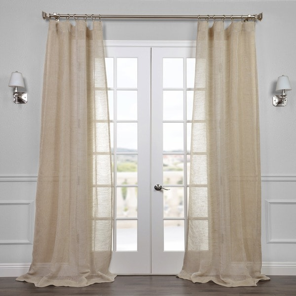 Exclusive Fabrics Linen Open Weave Natural Curtain Panel