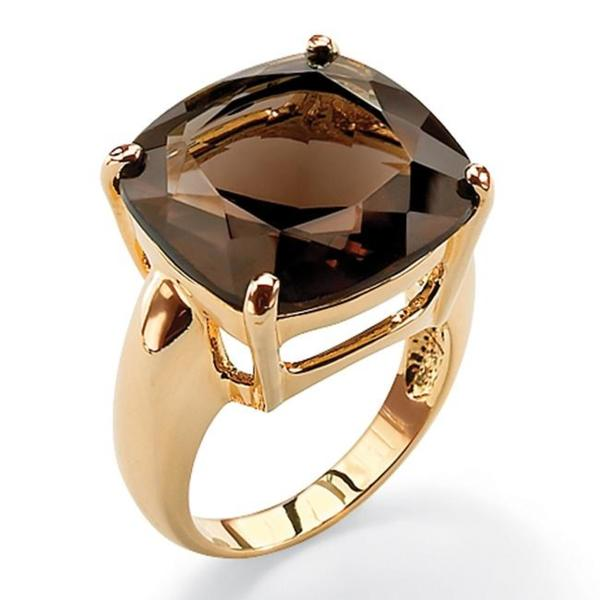 PalmBeach 28 TCW Cushion Princess-Cut Genuine Smoky Quartz