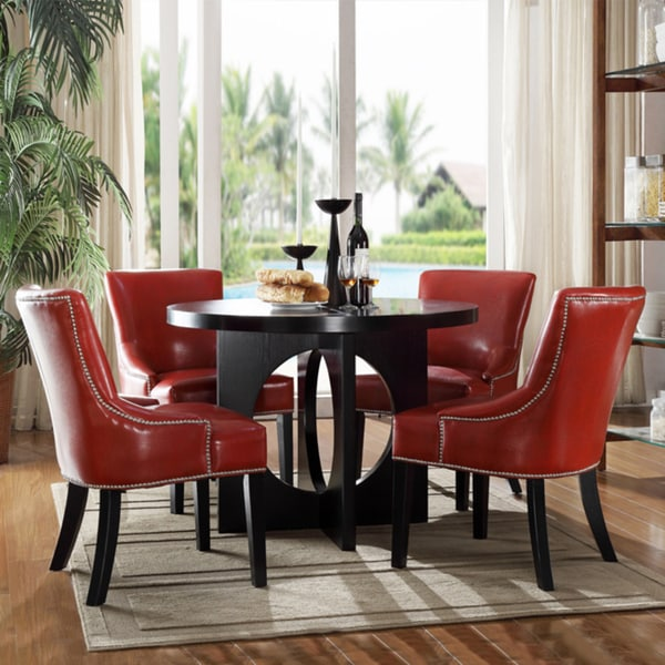 Overstock Dining Set: Westmont 5-piece Hot Red Faux Leather Dining Set