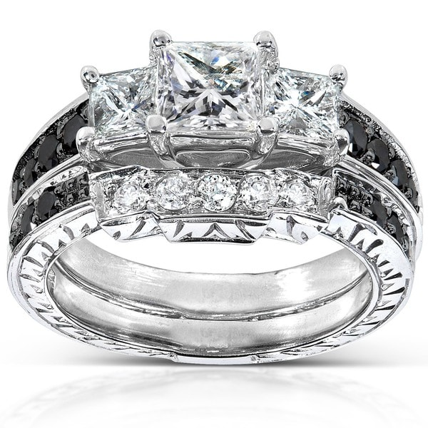 Annello 14k White Gold 1 3/5ct TDW Black And White Diamond