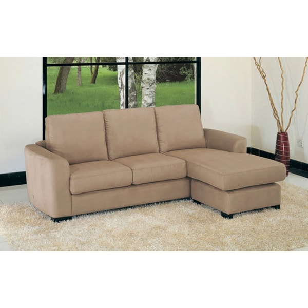 Oxford Mocha Microfiber Sectional Sofa 13841619