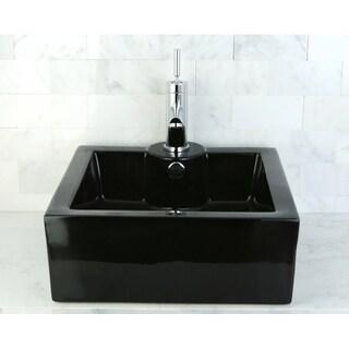 Vitreous China White Rectangular Vessel Bathroom Sink