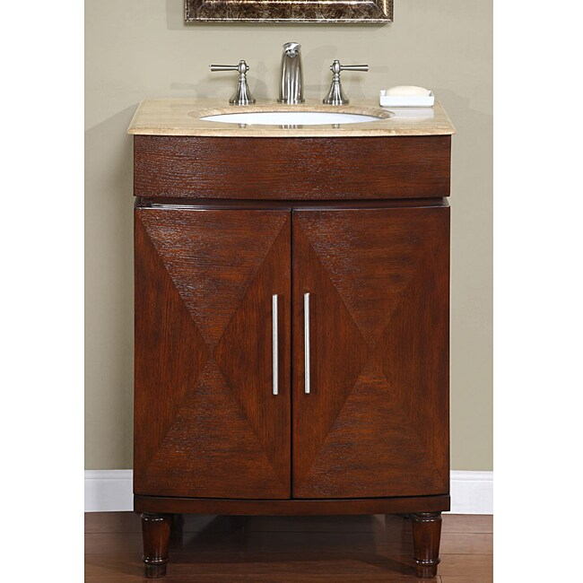 Silkroad Exclusive Single Sink 26-inch Travertine Top ...