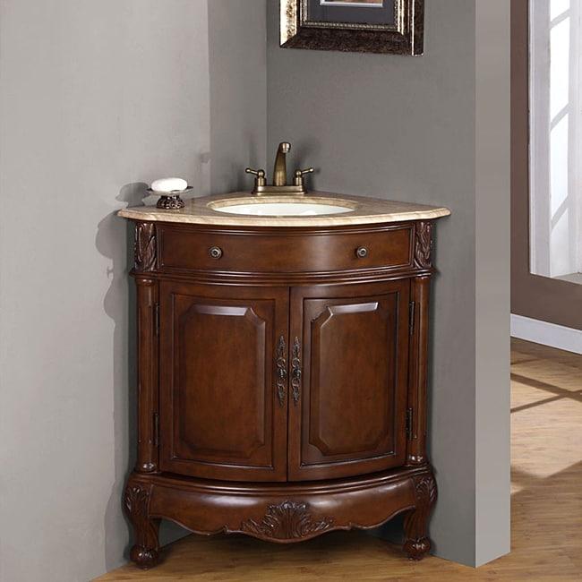 Silkroad exclusive single sink 32 inch travertine top - Corner vanities for small bathrooms ...