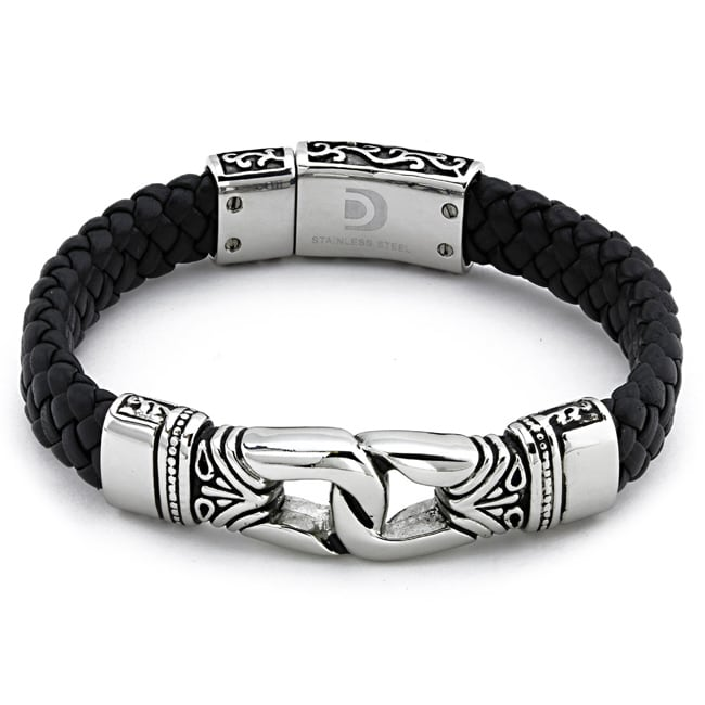 Stainless Steel Men's Black Leather Bracelet - 13847771 - Overstock.com Shopping - Big ...