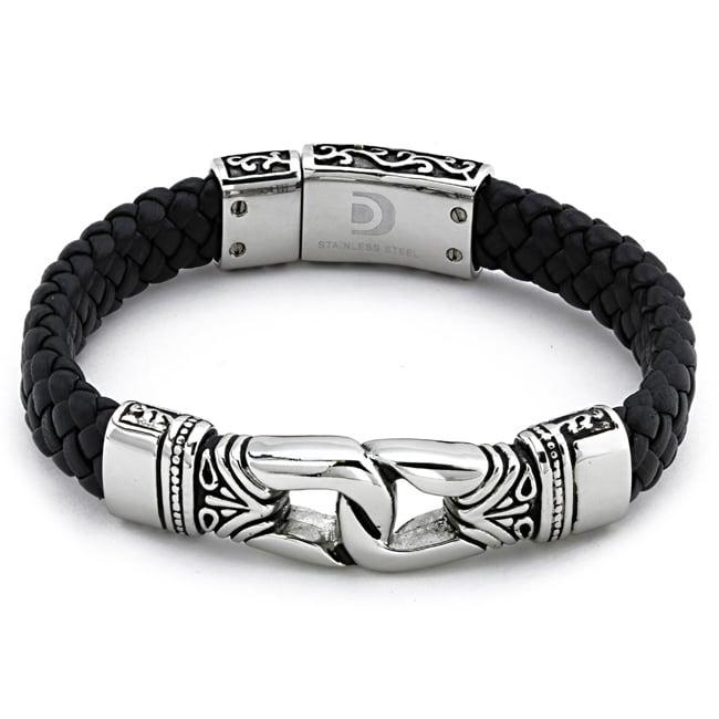 Stainless Steel Mens Black Leather Bracelet 13847771
