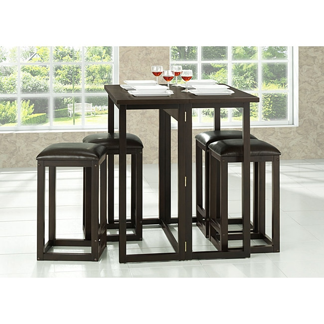 Bar Table Sets For Kitchen: Leeds Brown Wood Collapsible Pub Table Set