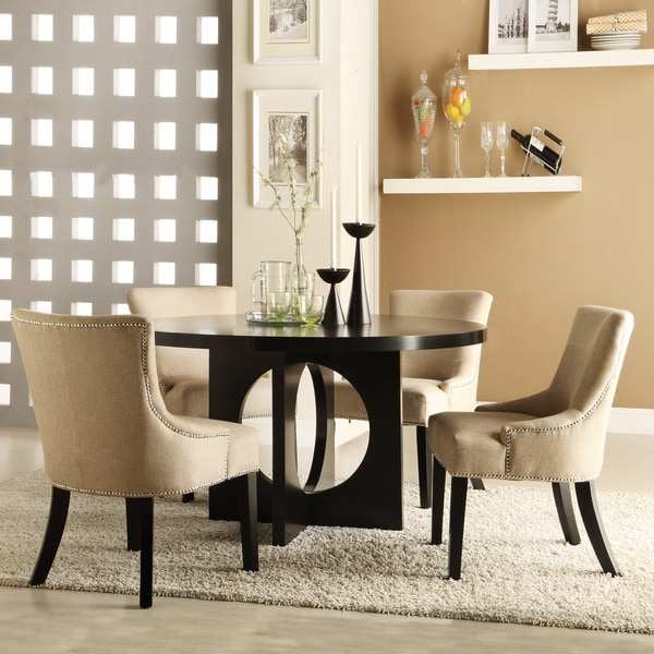 Westmont 5-piece Beige Linen 54-inch Round Dining Set