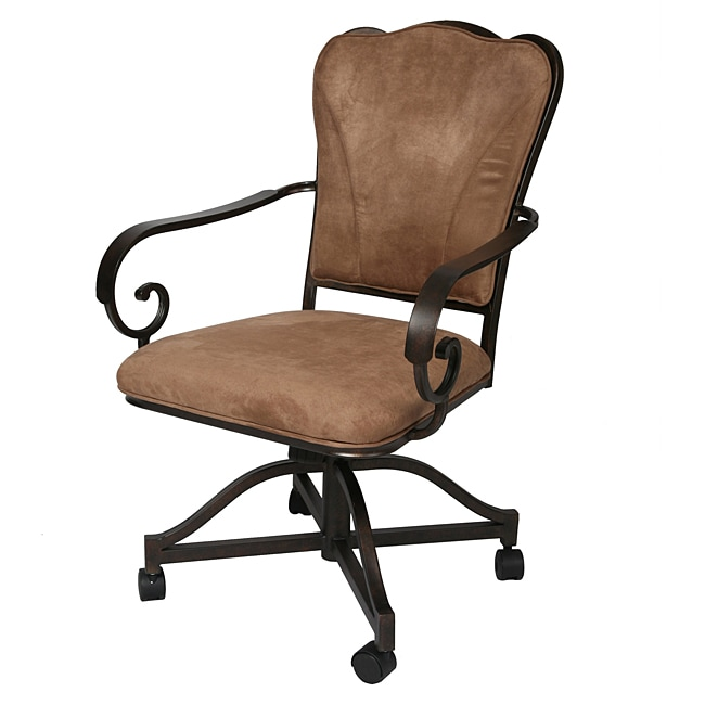 Dining Chairs Casters: Vienna Topanga Brown Polyester Dining Caster Chair