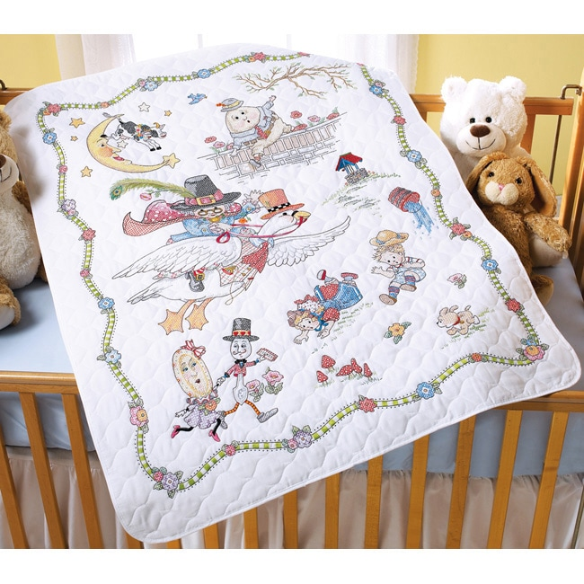 Mary Engelbreit Mother Goose Crib Cover Stamped Cross