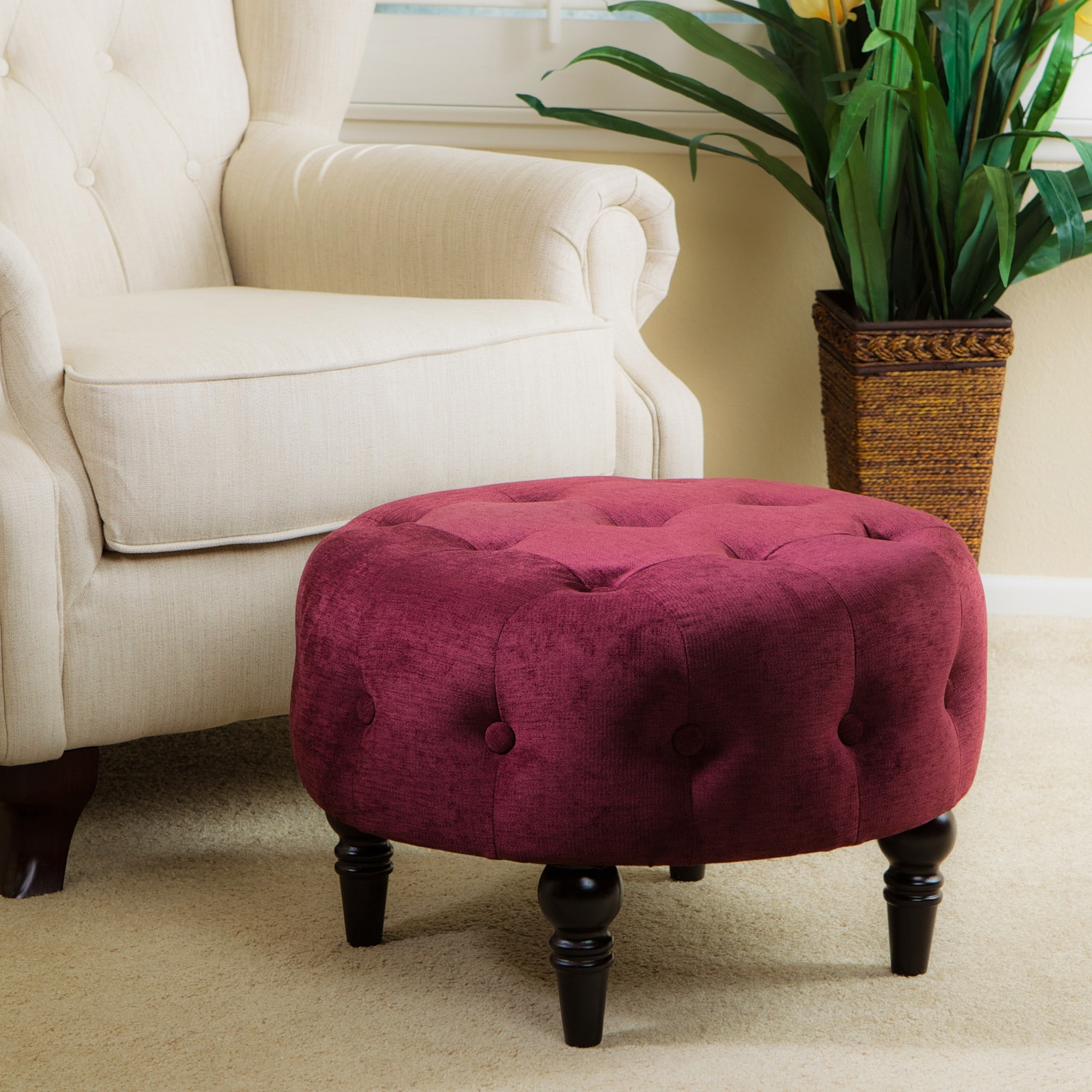 Round Purple Tufted Ottoman Overstock Shopping Great