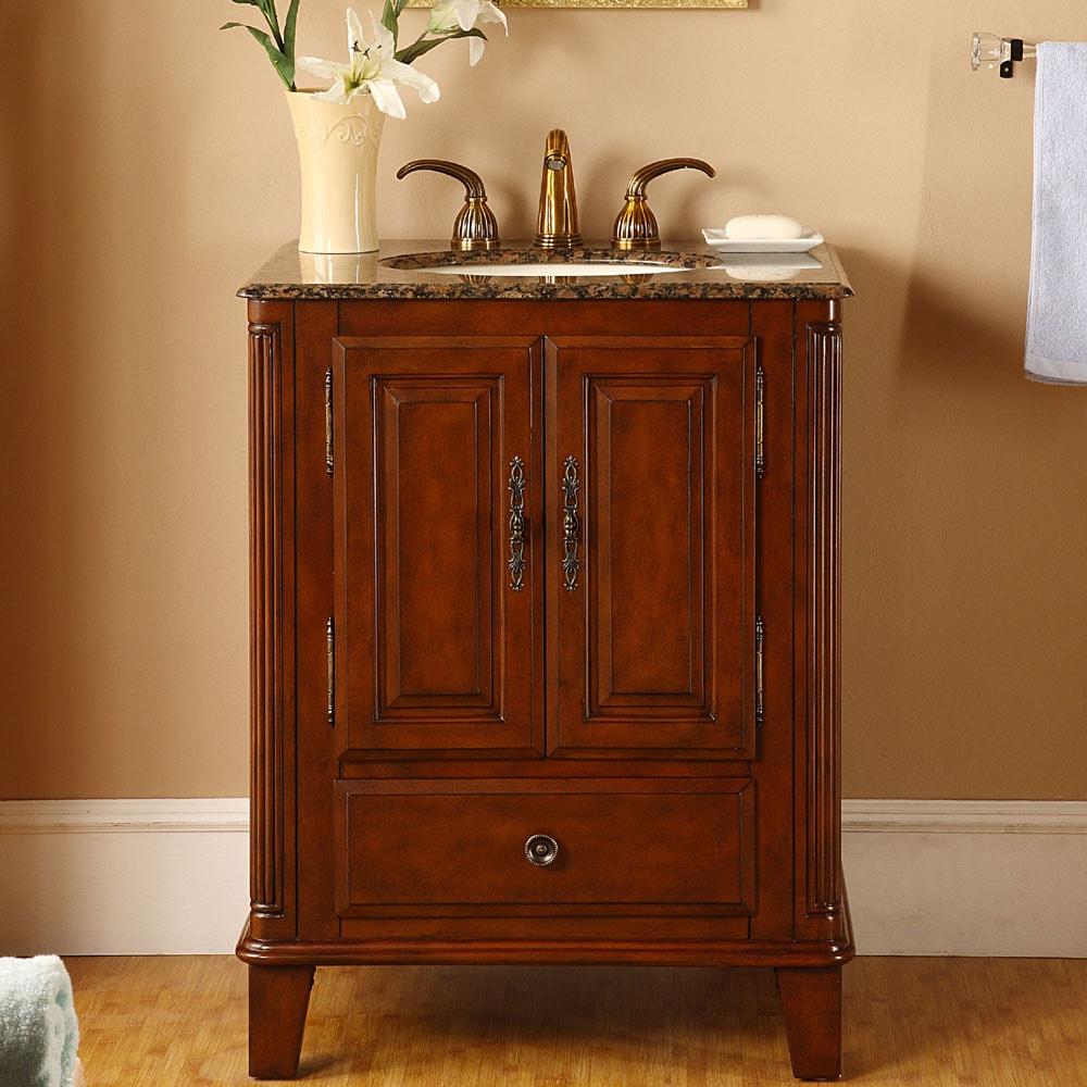 Silkroad Exclusive Granite Top 28-inch Single Sink Vanity ...
