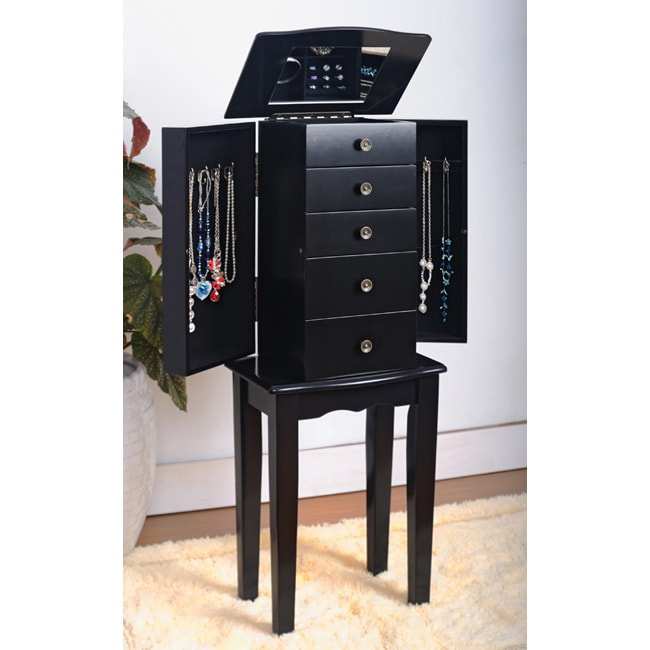 Contemporary Style Black Jewelry Armoire Chest 13861931