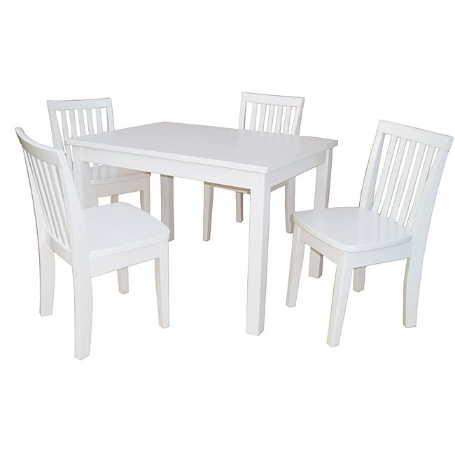 Juvenile Linen White Table With Four Chairs Set 13862521