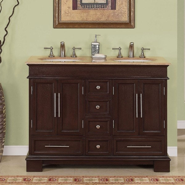 Silkroad Exclusive Travertine Top 48-inch Double-sink ...