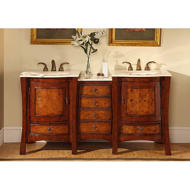 Silkroad Exclusive Marble Top 67-inch Double Sink Vanity ...