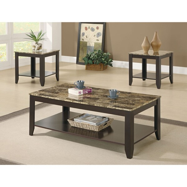 Cappuccino Marble Top 3 Piece Promotional Table Set