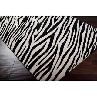 B Smith Hand Tufted Beige White Zebra Animal Print