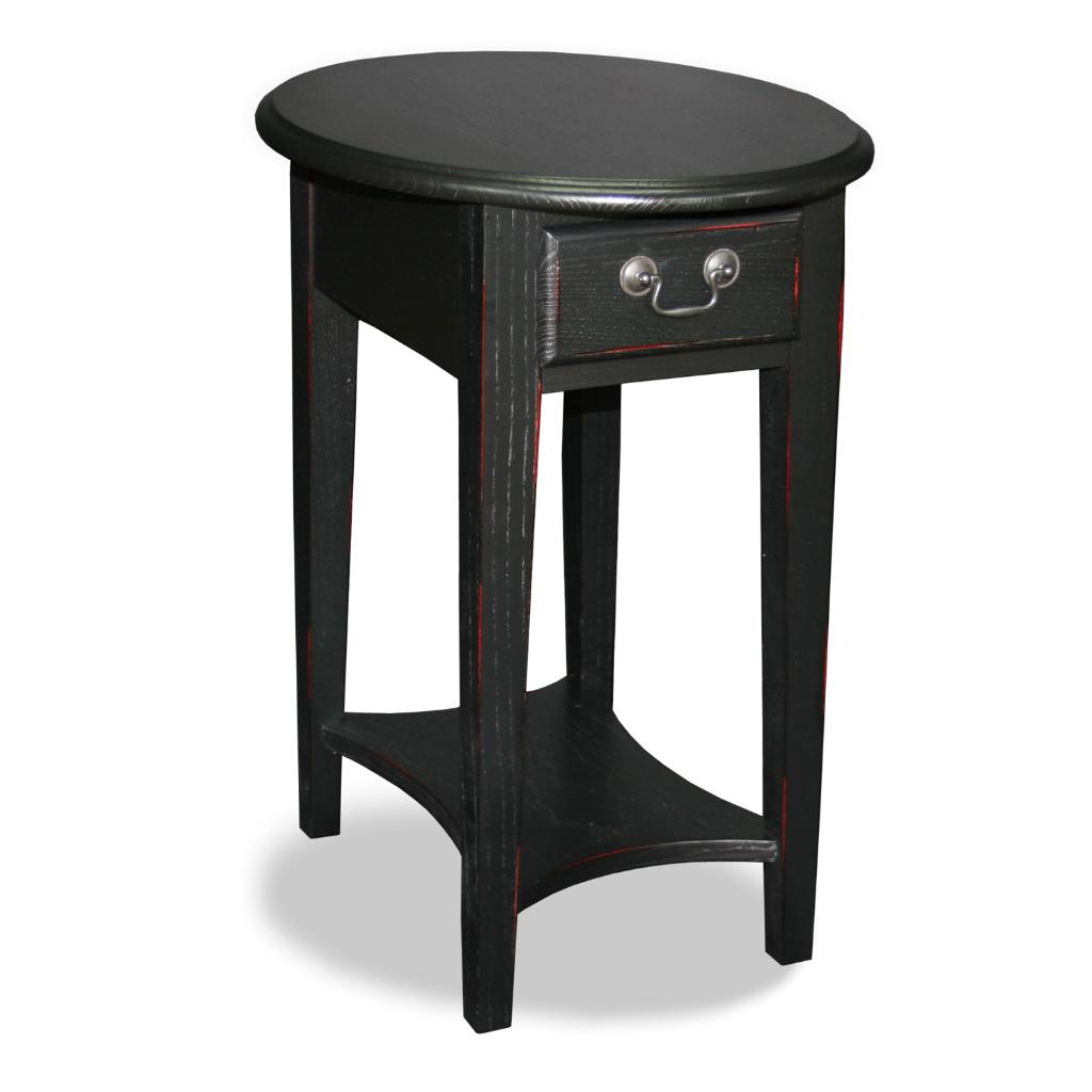 Overstock End Tables: Black Oval Side Table