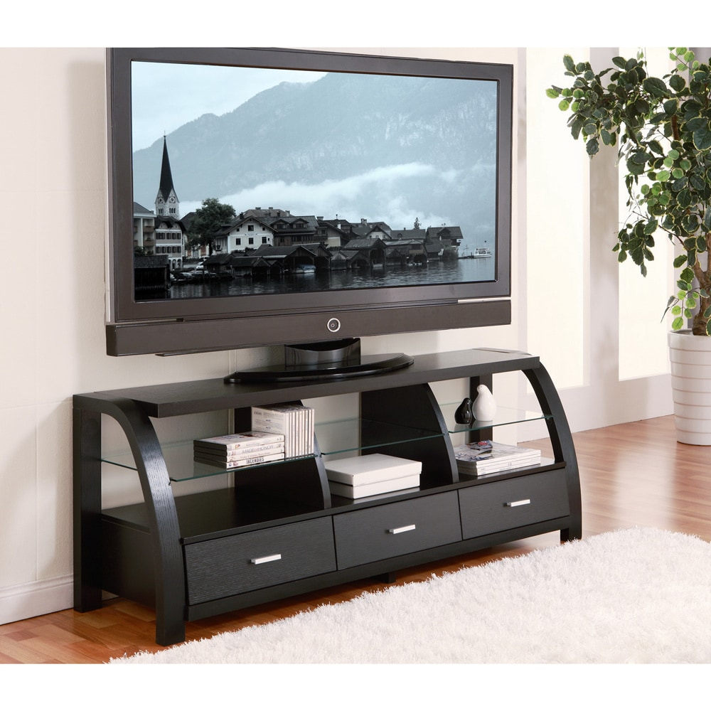 furniture of america grove black 60 inch 3 drawer tv entertainment cabinet overstock shopping. Black Bedroom Furniture Sets. Home Design Ideas