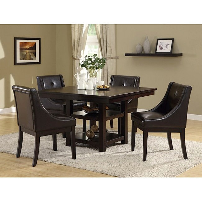 Dark Brown Leather-like Side Chairs (Set Of 2)