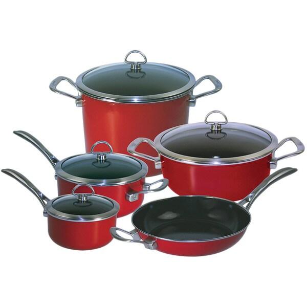 Chantal 80 9re Chili Red Copper Fusion 9 Piece Cookware