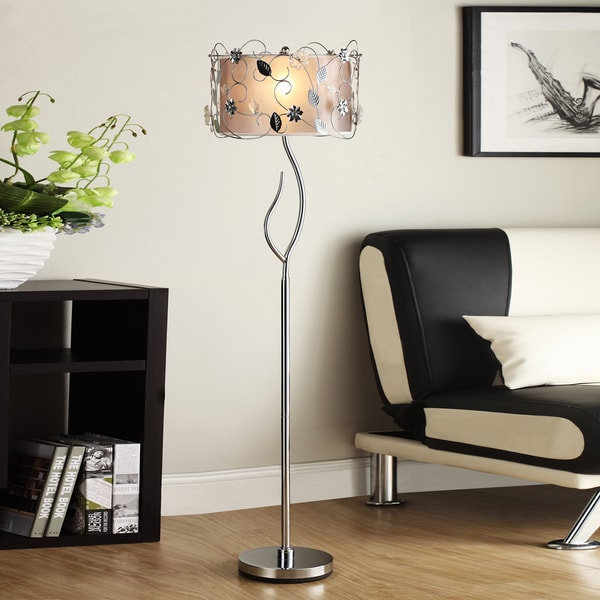 Tribecca Home Floral 62 Inch Silver Crystal Floor Lamp 13907236 Overstock Com Shopping