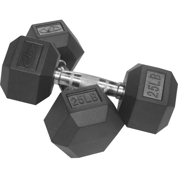 York Dumbbell Exercise Programme: Valor Fitness 25 Lb Black Rubber Hex Dumbbells (Set Of 2