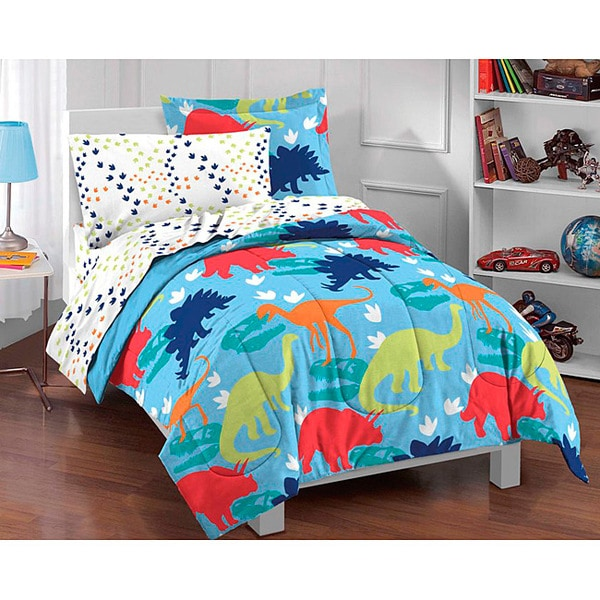 Dinosaur Prints 5 Piece Twin Size Bed In A Bag With Sheet