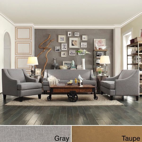 Overstock Living Room Sets: INSPIRE Q Winslow Concave Arm Modern 3-piece Living Room