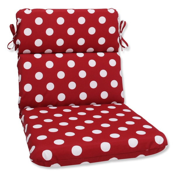 Pillow Perfect Outdoor Red White Polka Dot Round Chair